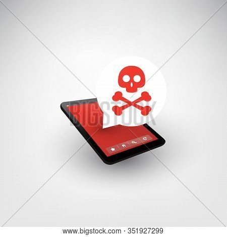 Malware Infection Warning Speech Bubble On Tablet Pc Or Mobile Phone - Virus, Backdoor, Ransomware,