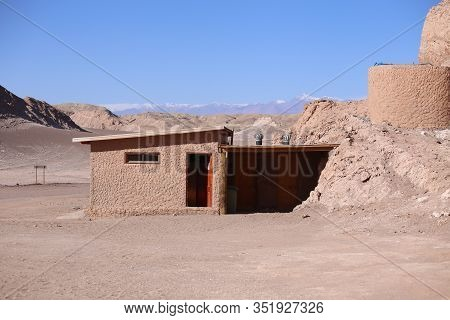 Atacama Desert, Chile. Small Rustic Building In The Luna Valley For Reception Of Tourists.