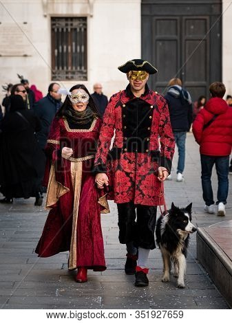 Venice, Italy - 02 08 2020: Couple In Carnival Disguise In February In Venice (italy)