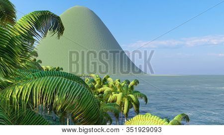 Aerial drone shot of small island, French Polynesia 3d rendering