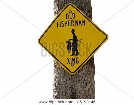 Old Fisherman Crossing Sign