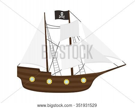 Vector Pirate Ship With Sails, Frigate Or Galleon