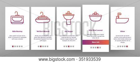 Sink Ceramic Bathroom Onboarding Icons Set Vector. Bath Sink With Faucet, Restroom Hands And Face Wa