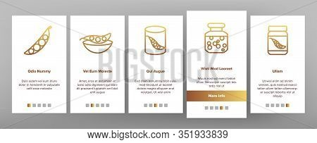 Peas Bob Vegetable Onboarding Icons Set Vector. Peas In Glass Jar And Metallic Container, Natural Ag