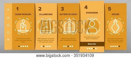 Funeral Burial Ritual Onboarding Icons Set Vector. Funeral Ceremony, Coffin And Bible, Car And Churc