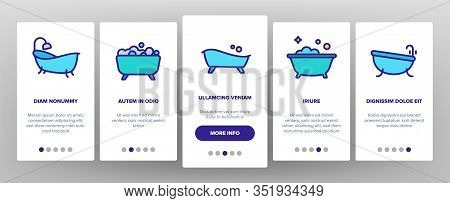 Bathtube And Shower Onboarding Icons Set Vector. Bathtube In Different Form, With Human And Full Soa