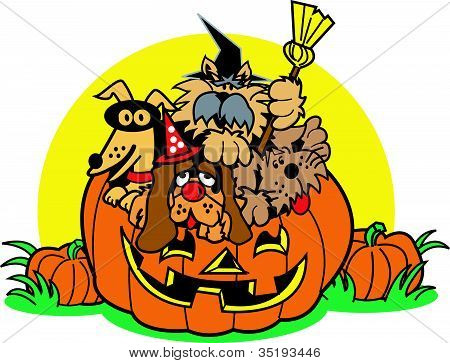 Halloween Pumpkin Dog Clip Art