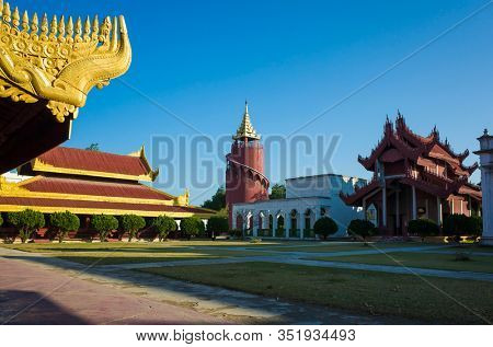 Mandalay royal Palace, Watch tower and other structures inside of palace compound, Myanmar