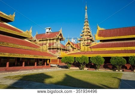 Mandalay royal Palace, Great Audience Hall and other structures inside of palace compound, Myanmar