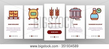 Whisky Alcoholic Drink Onboarding Icons Set Vector. Bottle And Wooden Barrel Whisky, Wheat And Glass