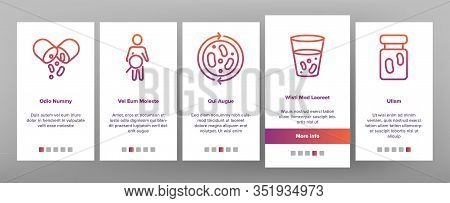 Probiotic Bacteria Onboarding Icons Set Vector. Intestinal Flora And Intestinal, Healthy Yogurt And