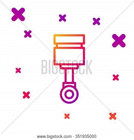 Color Line Engine Piston Icon Isolated On White Background. Car Engine Piston Sign. Gradient Random