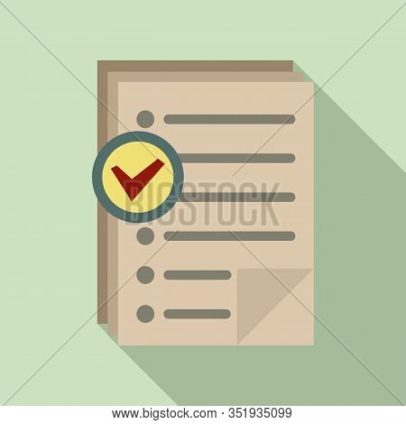 Approved Inventory Papers Icon. Flat Illustration Of Approved Inventory Papers Vector Icon For Web D