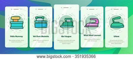 Iron Electrical Tool Onboarding Icons Set Vector. Vintage And Modern Iron Device Appliance For Ironi