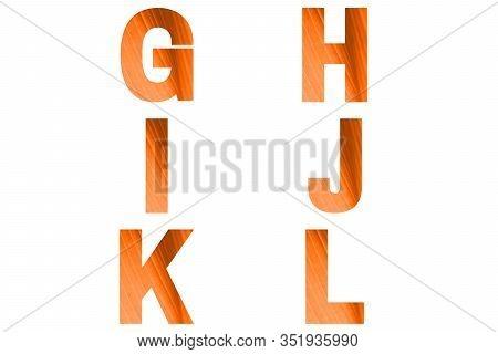 Turmeric Font Alphabet G, H, I, J, K, L Made Of Natural Bananas Leaf Background.
