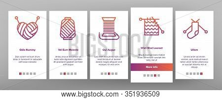 Yarn Ball For Knitting Onboarding Icons Set Vector. Yarn In Bucket And Needles, Threads And Hooks, S