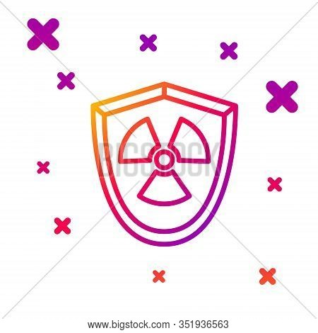 Color Line Radioactive In Shield Icon Isolated On White Background. Radioactive Toxic Symbol. Radiat