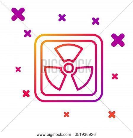 Color Line Radioactive Icon Isolated On White Background. Radioactive Toxic Symbol. Radiation Hazard