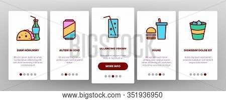 Soda Aqua Beverage Onboarding Icons Set Vector. Soda Bottle And In Glass Cup, With Tube And Ice Cube