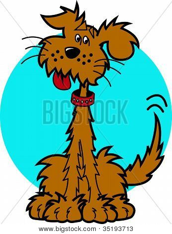 Cute Cartoon Dog or Mutt Clip Art Wagging Tail and Happy poster