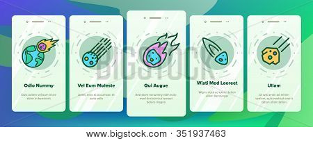 Meteor Cosmic Body Onboarding Icons Set Vector. Space Meteor, Asteroid With Flame Tail, Burning Come