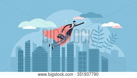 Superhero Businessman Concept, Flat Tiny Person Vector Illustration. Corporate Power And Working Ski