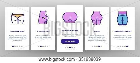 Butt Human Body Part Onboarding Icons Set Vector. Butt With Tattoo In Heart Form And Hair, Wear Pant