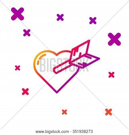 Color Line Amour Symbol With Heart And Arrow Icon Isolated On White Background. Love Sign. Valentine