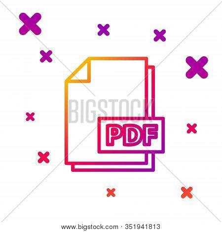 Color Line Pdf File Document. Download Pdf Button Icon Isolated On White Background. Pdf File Symbol