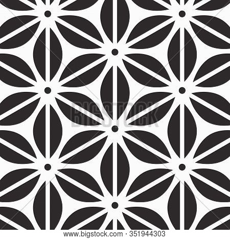 Abstract Flower Vector Pattern, Repeating Curve Stripe Linear Flower Or Leaves. Pattern Is Clean For