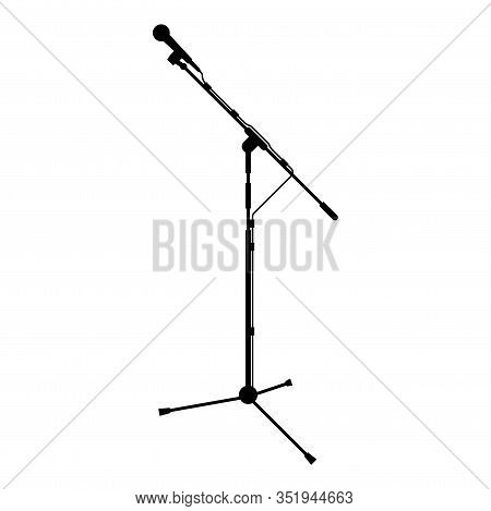 Stand Microphone Sound Recording Equipment Racks For Mic Icon Black Color Vector Illustration Flat S
