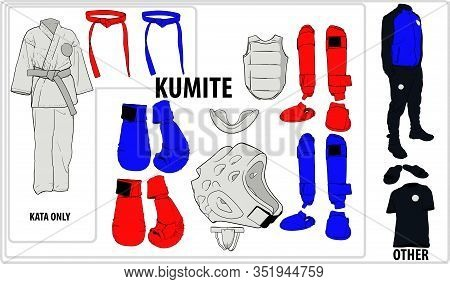 A Set Of The Most Necessary Equipment For Karate And Some Other Martial Arts For A Trip To The Compe