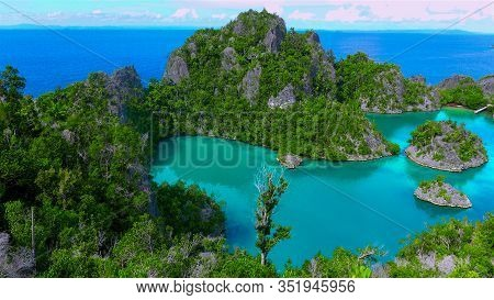 Heavenly And Remote Islands. Piaynemo Lagoon, Fam Archipelago, North Raja Ampat, One Of The Most Bea