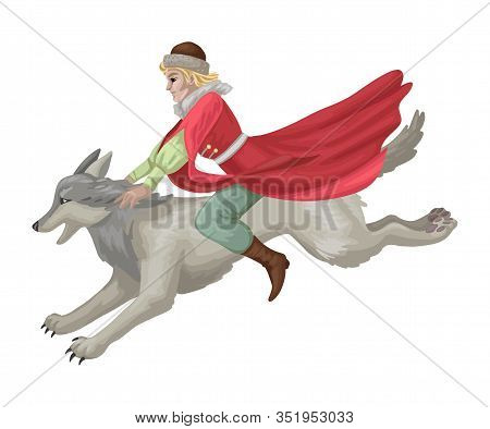 Russian Folk Tale With Man Rides Wolf. Vector Illustration