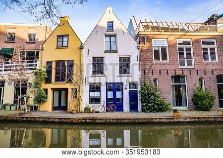 Utrecht, Netherlands - January 06, 2020. Water Canal With Traditional Dutch Architecture