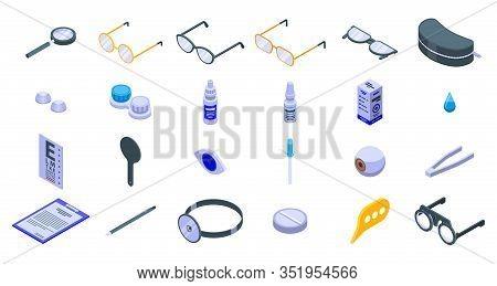 Optician Icons Set. Isometric Set Of Optician Vector Icons For Web Design Isolated On White Backgrou