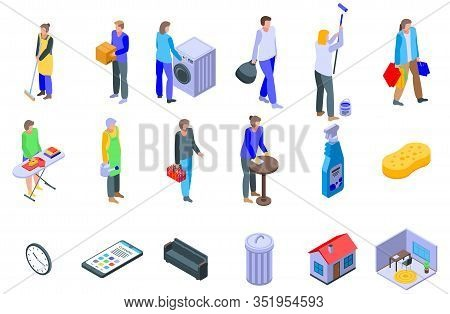 Housekeeping Icons Set. Isometric Set Of Housekeeping Vector Icons For Web Design Isolated On White