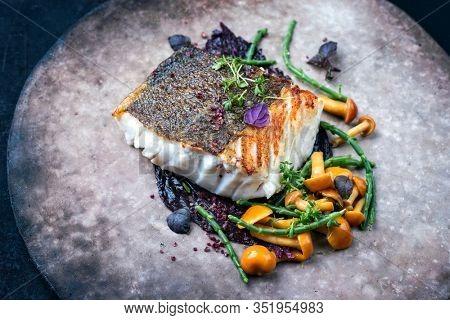 Gourmet fried European skrei cod fish filet with glasswort, fungi and algae as closeup on a modern design plate