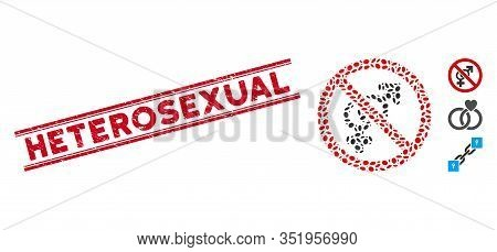 Rubber Red Stamp Watermark With Heterosexual Text Inside Double Parallel Lines, And Mosaic No Sex Ic