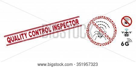 Rubber Red Stamp Seal With Quality Control Inspector Text Inside Double Parallel Lines, And Mosaic N