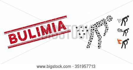 Corroded Red Stamp Watermark With Bulimia Phrase Between Double Parallel Lines, And Mosaic Man Diarr