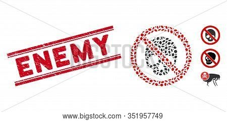 Rubber Red Stamp Seal With Enemy Caption Inside Double Parallel Lines, And Mosaic No Dead Skull Icon