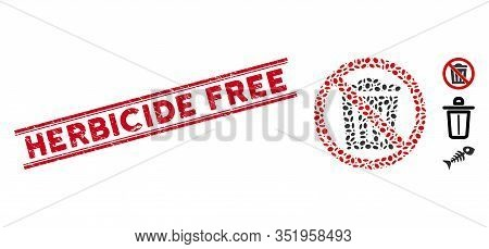 Distressed Red Stamp Seal With Herbicide Free Text Inside Double Parallel Lines, And Mosaic No Trash