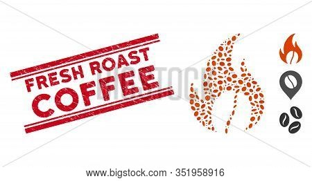 Distressed Red Stamp Seal With Fresh Roast Coffee Text Between Double Parallel Lines, And Mosaic Roa
