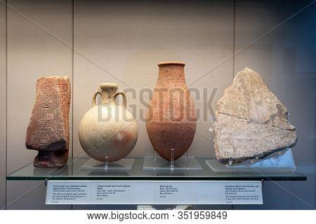 London, England - December 4, 2019: Lower Part Of A Sandstone Shabti Figure Of The Veceroy Setau, Cr