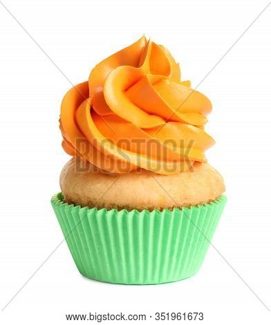 Delicious Birthday Cupcake With Buttercream Isolated On White