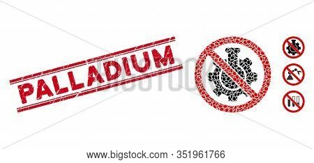 Grunge Red Stamp Watermark With Palladium Phrase Between Double Parallel Lines, And Mosaic No Chemic