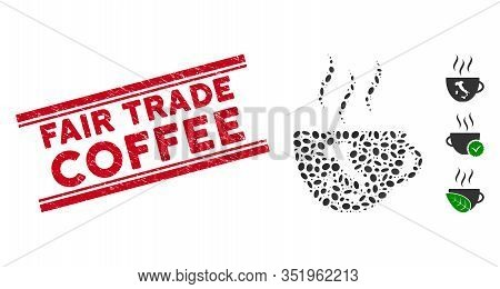 Rubber Red Stamp Watermark With Fair Trade Coffee Phrase Inside Double Parallel Lines, And Mosaic It