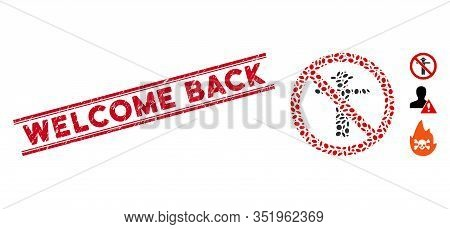 Corroded Red Stamp Seal With Welcome Back Phrase Inside Double Parallel Lines, And Mosaic No Scarecr