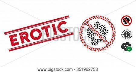 Corroded Red Stamp Watermark With Erotic Text Inside Double Parallel Lines, And Mosaic No Microbe Ic
